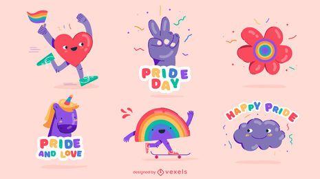 Conjunto colorido de elementos do orgulho