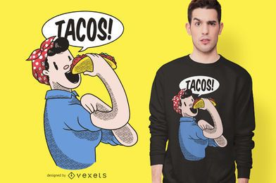 Diseño de camiseta Tacos Riveter Girl