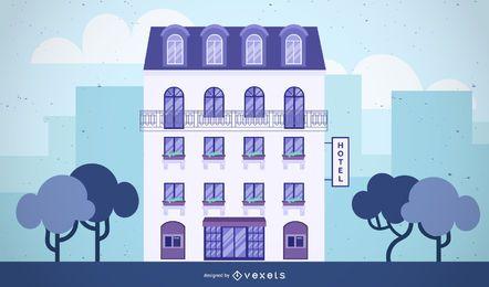 desenho de ilustração de construção de hotel
