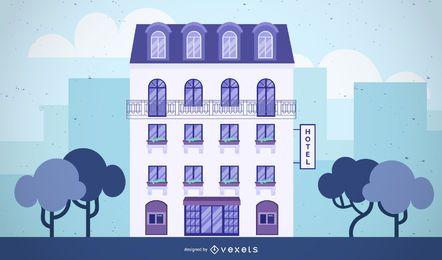 hotel building illustration design