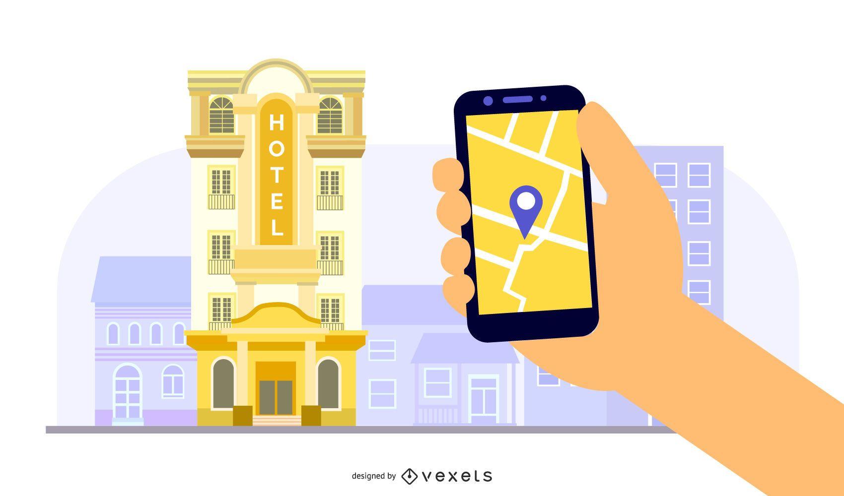 Ilustración de la aplicación del edificio del hotel