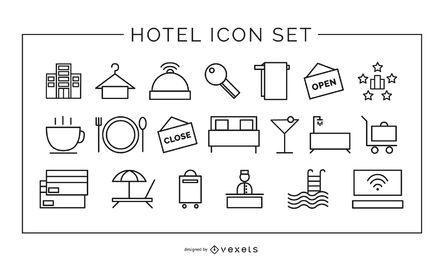 conjunto de trazos de iconos de elementos de hotel