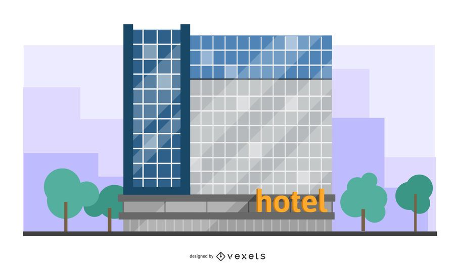 modern hotel building illustration