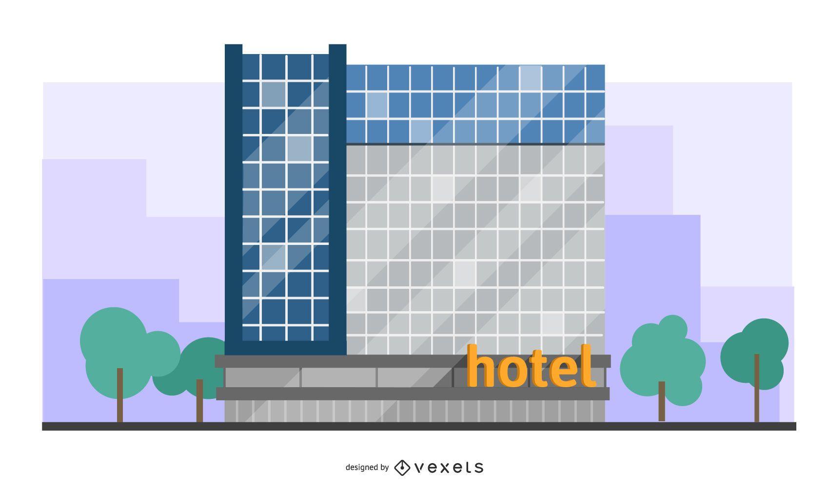 ilustración de edificio de hotel moderno