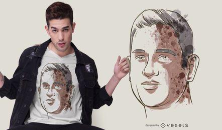 Diseño de camiseta de retrato de hombre de acuarela
