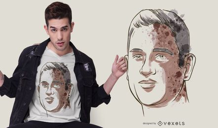 Watercolor Man Portrait T-shirt Design