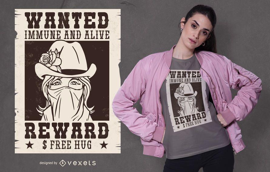 Diseño de camiseta Wanted Girl