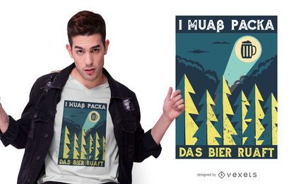 Diseño de camiseta de cita divertida de cerveza bávara
