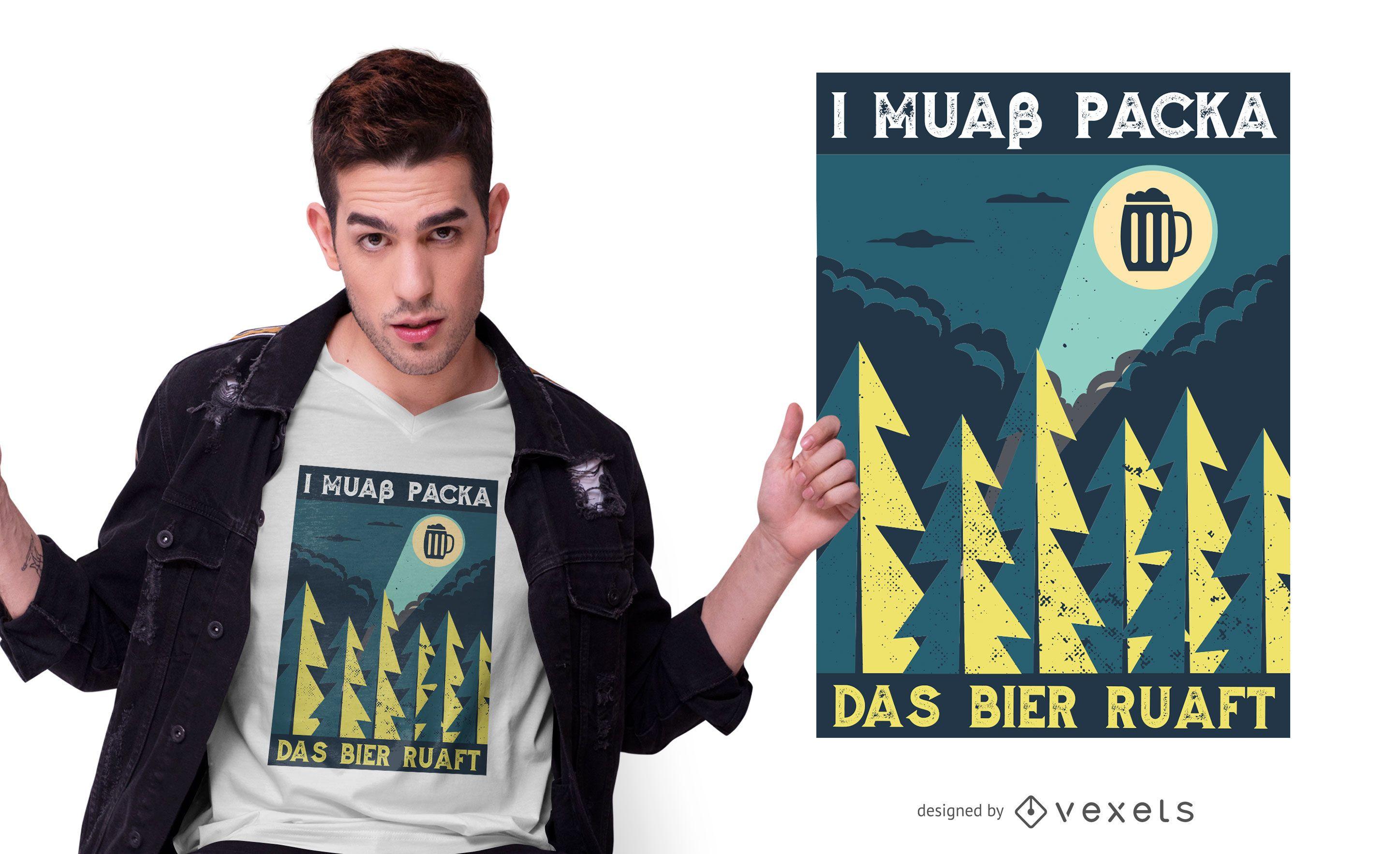 Diseño de camiseta de cita de cerveza divertida bávara