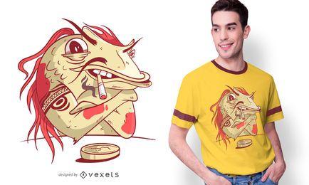 Diseño de camiseta Gangster Koi