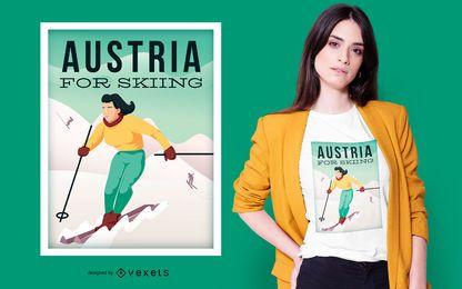 Diseño de camiseta de esquí de Austria