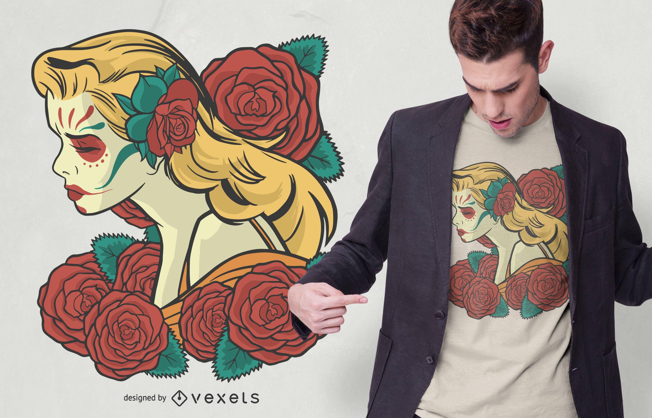 Diseño de camiseta de Catrina coloreada