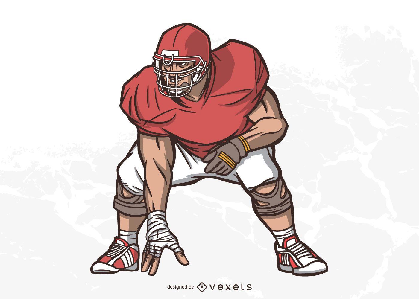 American Football Lineman Illustration