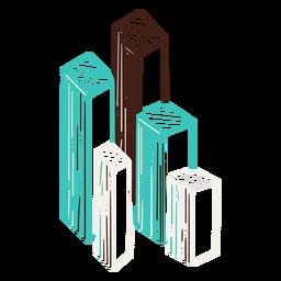 Gráfico de barras 3D dibujado a mano