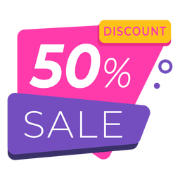 50 discount label colorful