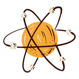 Dibujado a mano elemento de diagrama de átomo