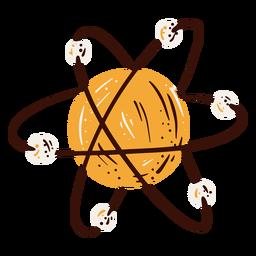 Elemento del diagrama del átomo dibujado a mano