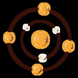 Elemento de estructura de átomo dibujado a mano