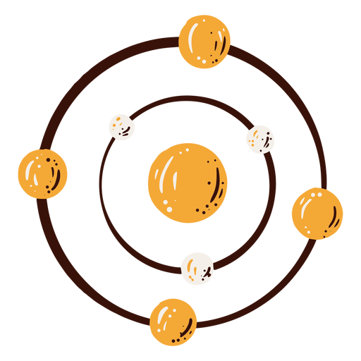 Atom structure element hand drawn