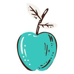 Blue apple hand drawn element