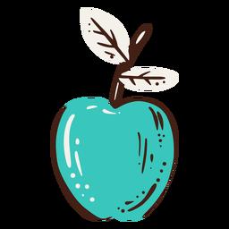 Elemento dibujado mano azul manzana