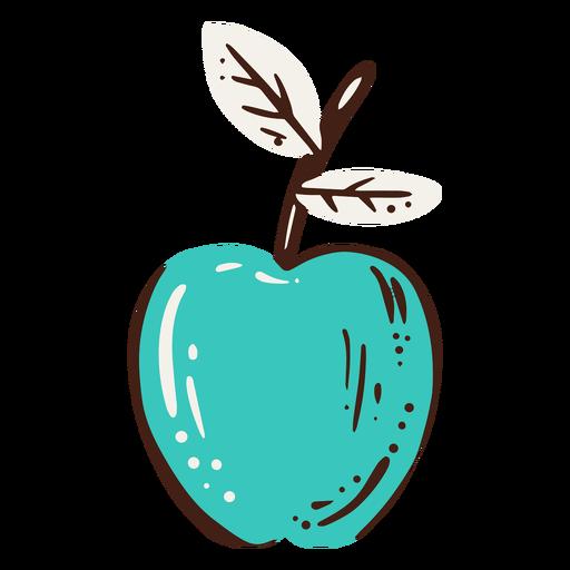 Elemento dibujado a mano manzana azul