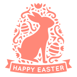 Vinilo insignia escandinava de conejito feliz pascua