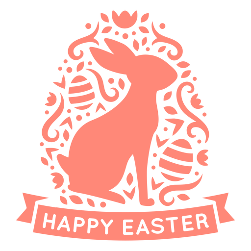 Bunny happy easter scandinavian badge vinyl