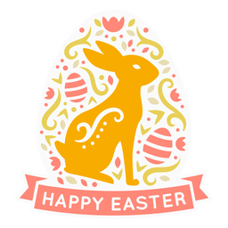 Bunny happy easter scandinavian label