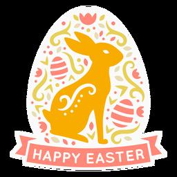 Conejito feliz pascua etiqueta escandinava