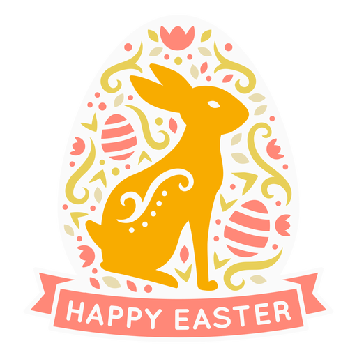 Bunny happy easter scandinavian label
