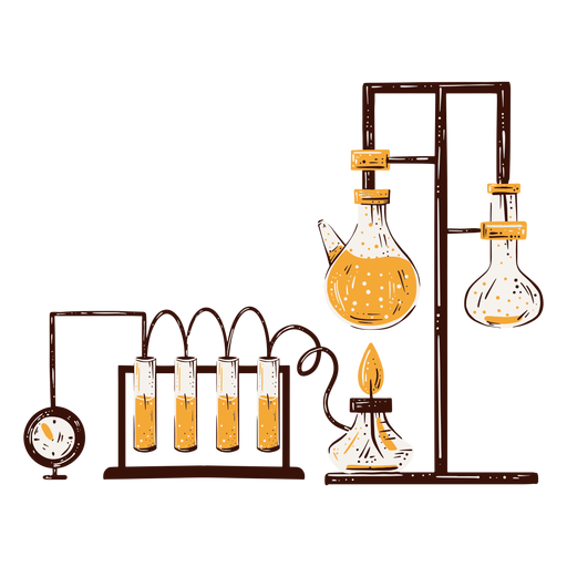 Chemistry lab components hand drawn