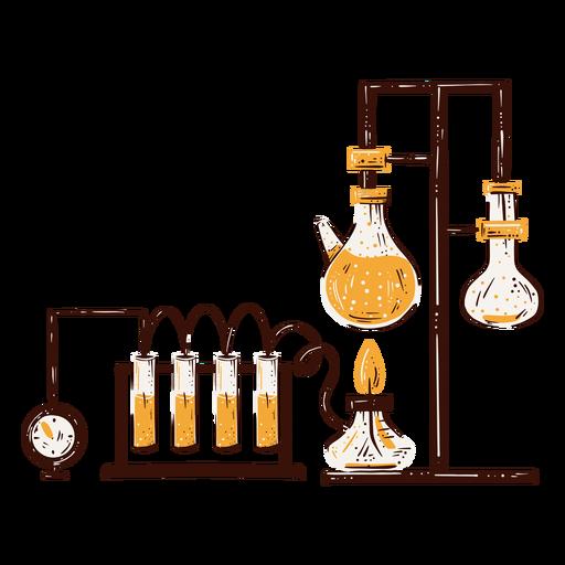 Dibujado a mano componentes de laboratorio de química