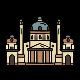Color hofburg viena palacio handdrawn