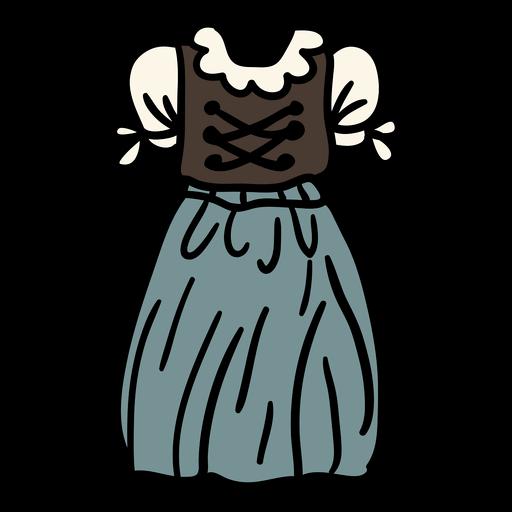 Mujer tradicional austriaca de color dirndl handdrawn