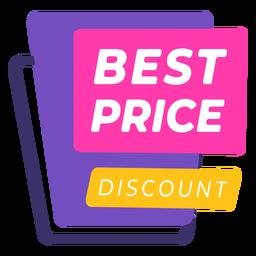 Etiqueta colorida de descuento al mejor precio
