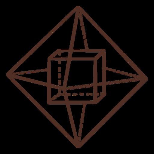 Cubo dentro del cubo de ilustración de geometría de pirámide