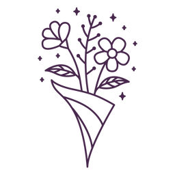 Delicate arranged bouquet stroke