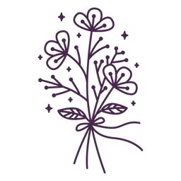 Delicate bouquet stroke illustration