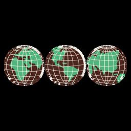 Globos de tierra elementos dibujados a mano
