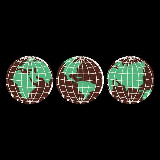 Earth globes hand drawn elements