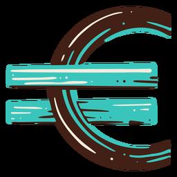Símbolo del euro elemento dibujado a mano