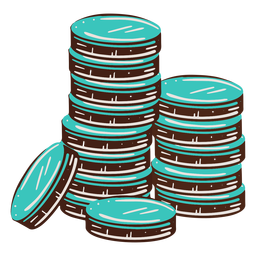 Hand drawn stacked coins
