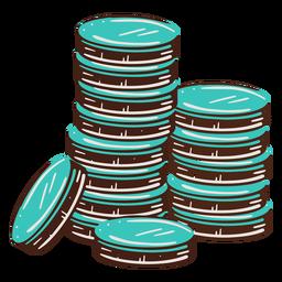 Monedas apiladas dibujadas a mano