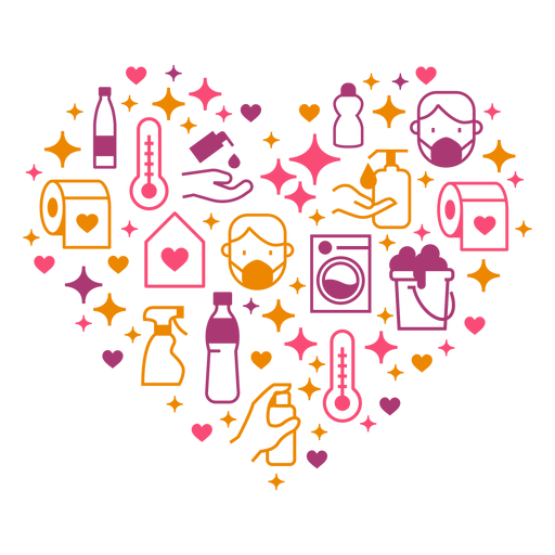 Hygiene measures heart composition Transparent PNG