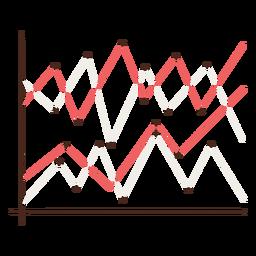 Elemento dibujado a mano del gráfico de líneas múltiples