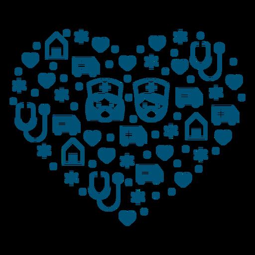 Composición del corazón de enfermeras Transparent PNG