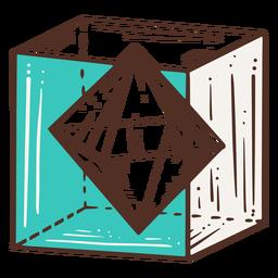 Octágono dentro de la ilustración coloreada del cubo