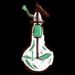 Pear shaped flask lab hand drawn