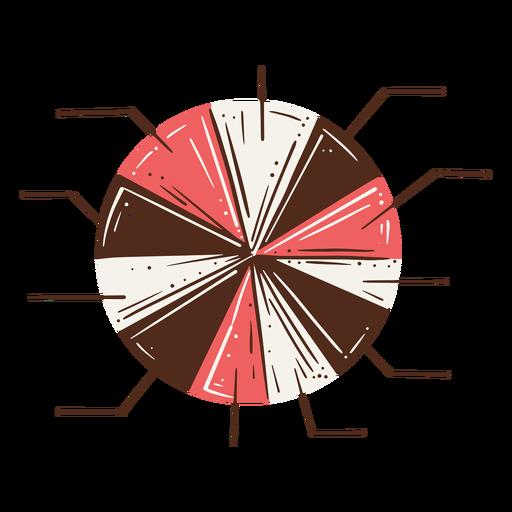 Gráfico circular once partes elemento dibujado a mano
